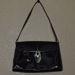 Emilio Pucci Black Patent Shoulder Handbag